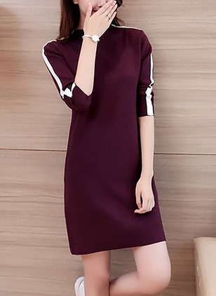 Silk Color Block Long Sleeve Above Knee Dresses