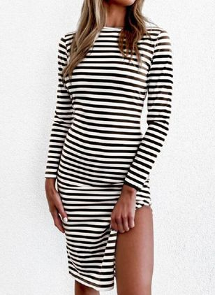 Casual Stripe Pencil Round Neckline Bodycon Dress (146678806)