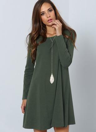 Solid Long Sleeve A-line Dress