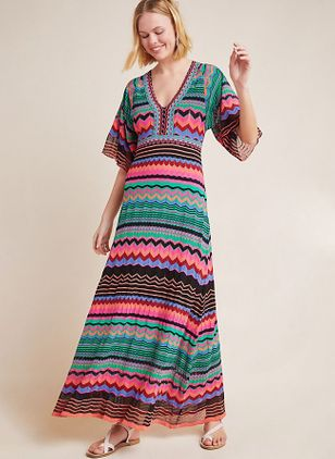 Color Block Half Sleeve Maxi X-line Dress