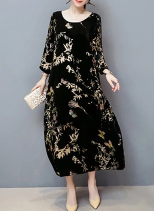 Floral Embroidery Peasant Maxi Shift Dress