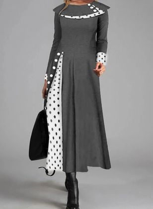 Casual Polka Dot Round Neckline Long Sleeve Maxi Dress (112602051)