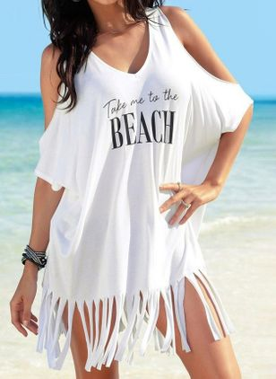 Plus Size Cover-Ups Natural Waist Tassels Plus Swimwear (4043021)