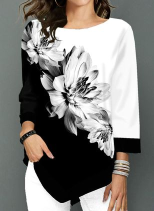 Floral Casual Round Neckline 3/4 Sleeves Blouses (4663820)