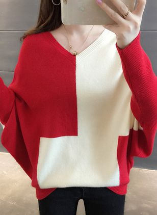 V-Neckline Color Block Loose Regular Sweaters