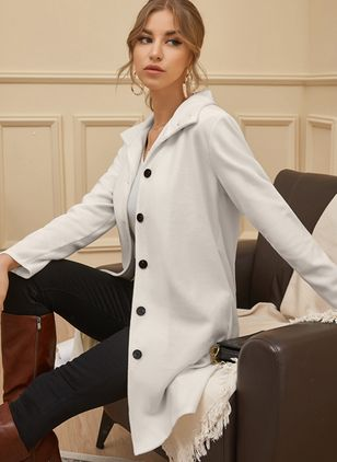 Long Sleeve High Neckline Buttons Coats (107423102)