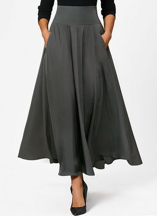 Solid Maxi Pockets Skirts (1398891)