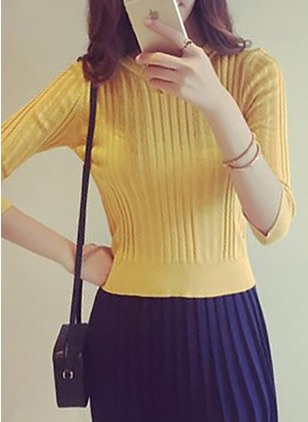 Cotton Round Neckline Solid Tight Ruffles Sweaters