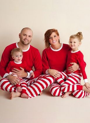 Family Look Stripe Christmas Long Sleeve Family Outfits (146771464)