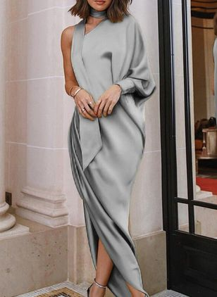 Solid Long Sleeve Maxi Sheath Dress
