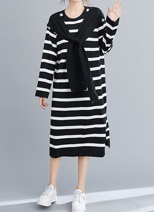 Casual Stripe Tunic Round Neckline Shift Dress (146678953)