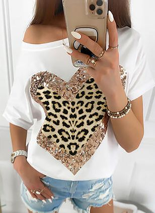 Leopard Oblique Neckline Short Sleeve Casual T-shirts (4864537)