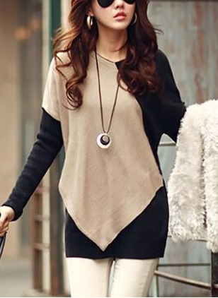 Color Block Casual Cotton Round Neckline Long Sleeve Blouses
