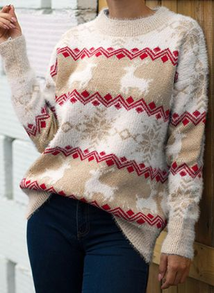 Round Neckline Geometric Christmas Loose Regular Shift Sweaters (128228807)