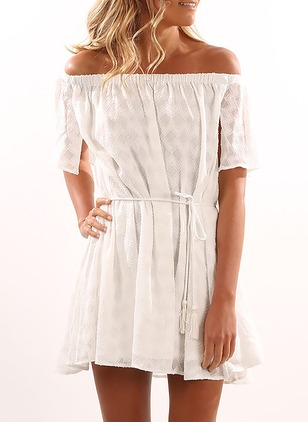 Solid Ruffles Short Sleeve Above Knee Shift Dress