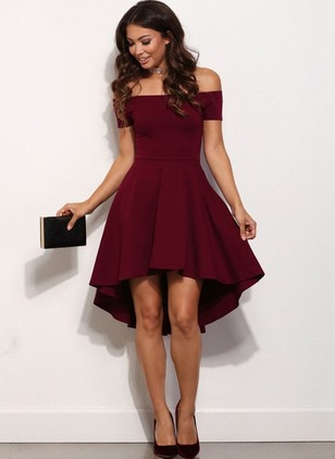 Solid Ruffles Short Sleeve High Low Shift Dress