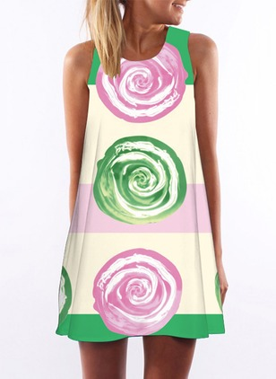 Cotton Color Block Sleeveless Above Knee Dresses