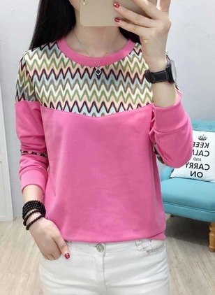 Geometric Round Neck Long Sleeve Casual T-shirts