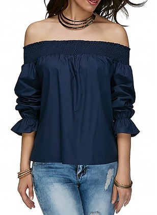 Solid Casual Polyester Boat Neckline Long Sleeve Blouses