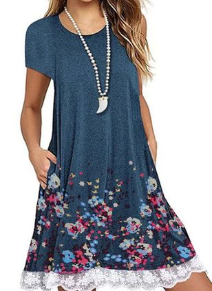 Casual Floral Tunic Round Neckline A-line Dress (1519404)