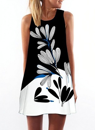 Floral Tank Sleeveless Above Knee A-line Dress