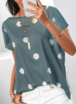 Floral Round Neck Short Sleeve Casual T-shirts (4135312)