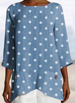 Polka Dot Casual Round Neckline 3/4 Sleeves Blouses (100669046)