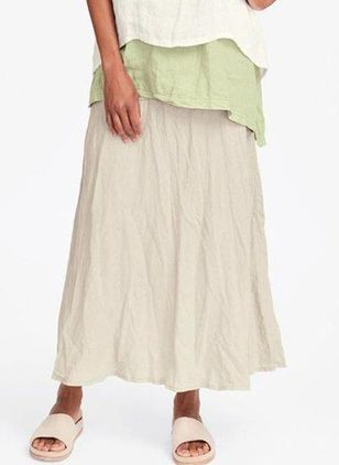 Solid Mid-Calf Casual Pockets Skirts (4047649)