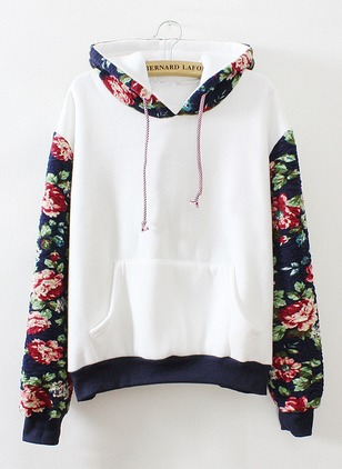 Polyester Hooded Floral Loose Appliques Pockets Others Sweaters