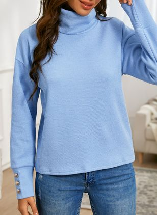 High Neckline Solid Casual Loose Regular Buttons Sweaters (146794888)