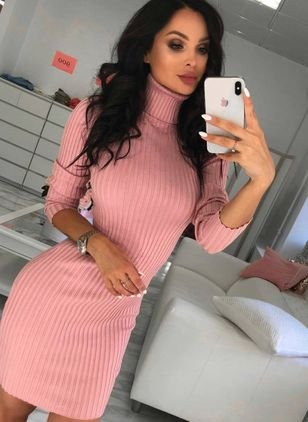 Solid Pencil Long Sleeve Mini Bodycon Dress