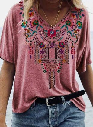 Floral V-Neckline Short Sleeve Casual T-shirts (4864515)
