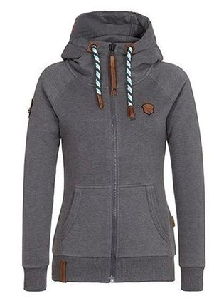 Solid Casual Hooded Pockets Zipper Sweatshirts (101987368)