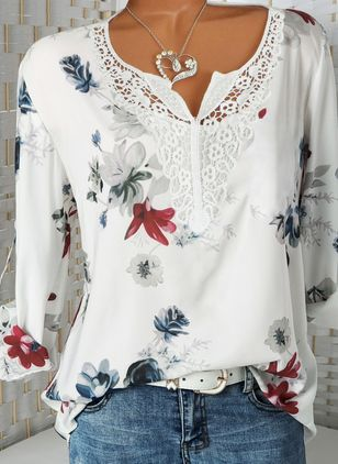 Floral Casual V-Neckline Long Sleeve Blouses (147104535)