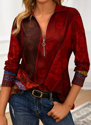 Color Block Casual V-Neckline Long Sleeve Blouses (146775093)