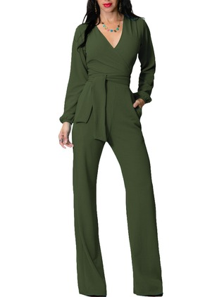 Rayon Solid Long Sleeve Jumpsuits & Rompers