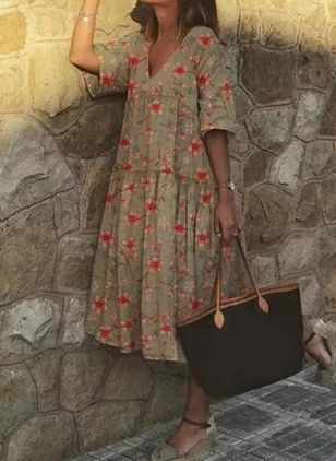 Casual Floral Tunic V-Neckline Shift Dress (2200507)