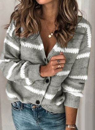 Long Sleeve V-neck Buttons Sweaters Coats (109556278)