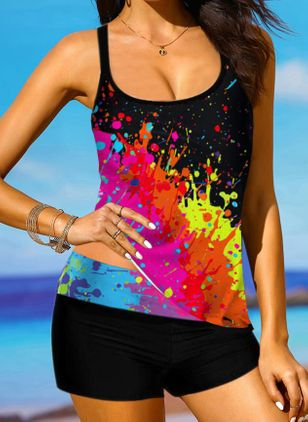 Polyester Color Block Tankinis Swimwear (147399119)