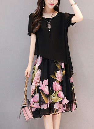 Floral Tshirt Short Sleeve Knee-Length A-line Dress