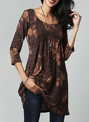 Floral Skater Long Sleeve Shift Dress