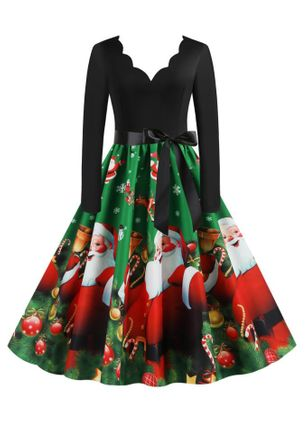 Christmas Animal Skater V-Neckline X-line Dress (128228487)