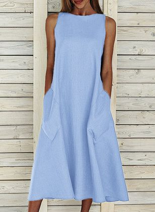 Casual Solid Tunic Round Neckline Shift Dress (2200750)