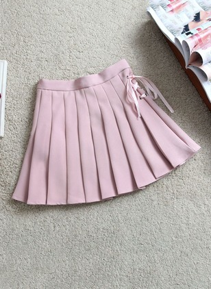 Cotton Solid Above Knee Casual Ruffles Skirts