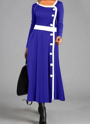 Casual Color Block Shirt Round Neckline Shift Dress (112602056)