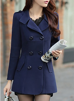 Wool & Wool Blend Long Sleeve Collar Buttons Coats