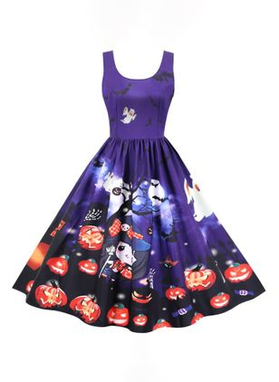 Halloween Color Block Round Neckline Midi X-line Dress (109973454)