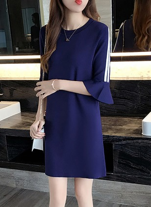 Solid Ruffles 3/4 Sleeves Shift Dress