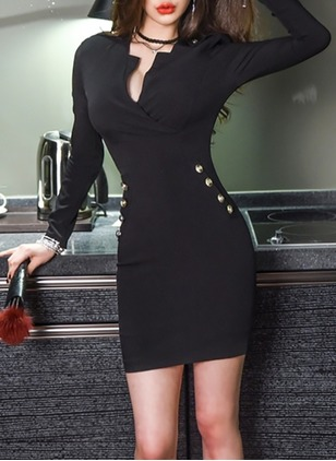 Cotton Solid Long Sleeve Bodycon Dress