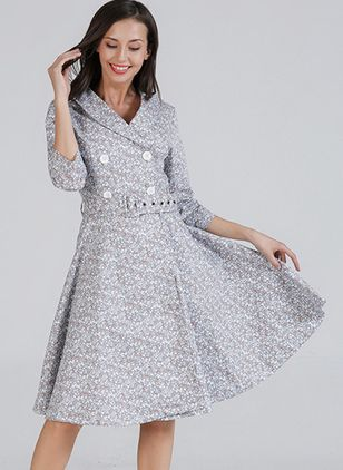 Solid Buttons 3/4 Sleeves Knee-Length X-line Dress